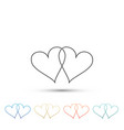 two linked hearts icon heart two love sign vector image