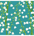 white lily of the valley on green teal background vector image vector image