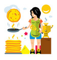 woman bakes pancakes flat style colorful vector image
