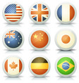 glossy flags icons set vector image