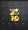 2019 calendar template golden typography with vector image vector image