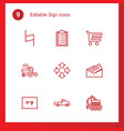 9 sign icons vector image vector image