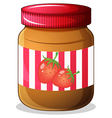 A bottle of strawberry jam vector image vector image