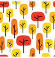 autumn trees seamless pattern vector image