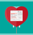 blood bag in heart shape vector image vector image
