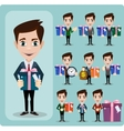 Businessman holding a big gift box set vector image vector image