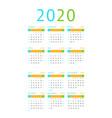 calendar 2020 pocket basic grid vector image vector image
