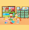 children folding paper airplane in living room vector image vector image