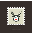 Christmas reindeer flat stamp vector image vector image