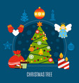christmas tree flat composition vector image vector image