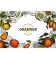 citrus fruits design template hand drawn colour vector image