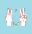 count on fingers number two gesture stylized vector image vector image