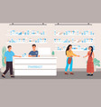 customers in a pharmacy receiving assistance vector image