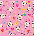 cute baby panda bears flowers seamless pattern vector image