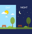 day and night concept sun and moon tree and vector image