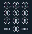 decorative numbers with glitch distortion effect vector image vector image