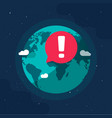 earth planet in global danger epidemic vector image vector image