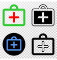 first-aid case eps icon with contour vector image vector image