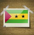 Flags Sao Tome Principeat frame on a brick vector image vector image