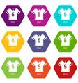 football shirt icons set 9 vector image vector image