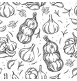 garlic bulb seamless pattern outline hand drawn vector image vector image