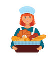 girl baker holds a basket with fresh bread vector image vector image