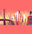growing future city metropolis background bridge vector image