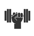 hand holding gym barbell glyph icon vector image