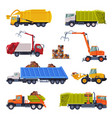 heavy special sanitary vehicles set garbage truck vector image