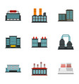 industry power plant icons set flat style vector image vector image
