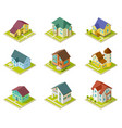 isometric houses rural homes building and vector image