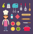 Kitchen Appliances and Food Female Cartoon vector image vector image