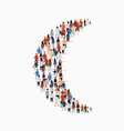 large group people in shape crescent vector image