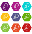 lasso icons set 9 vector image vector image