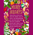merry winter holidays sketch greeting card vector image