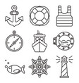 nautical or sea trip black outline icons isolated vector image vector image