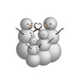 object snowman family in 3d vector image vector image