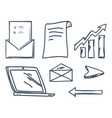 office laptop and increasing raising arrow vector image vector image