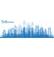 outline baltimore maryland city skyline with blue vector image
