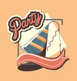 party hat decoration celebration banner retro vector image vector image