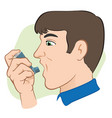 person using inhaler for asthma and lack vector image vector image