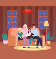 portrait four member family posing together vector image vector image