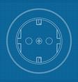 power socket on blueprint background vector image vector image
