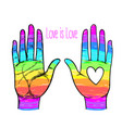 rainbow colored open hand raised up gay pride vector image