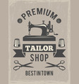 retro poster for tailor shop placard with symbols vector image vector image