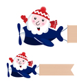 santa flying in airplane with blank banner vector image