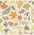 set of autumn leaves seamless background vector image