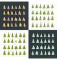 set of christmas tree silhouette design set vector image vector image