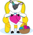 sheep knitting heart vector image