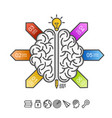 silhouette of the brain on a white background vector image vector image